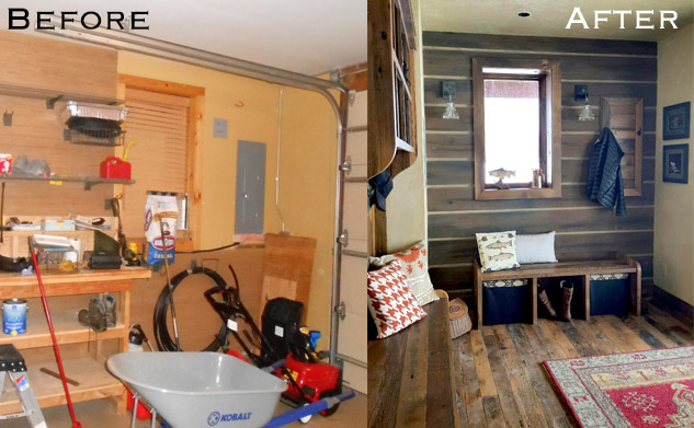 Before and After- A Freshly Rustic Entry, Wine Bar and Family Room Remodel